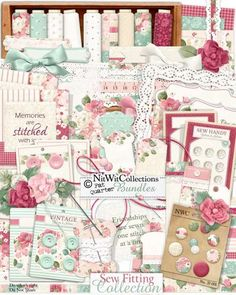 Shabby Chic digital scrapbooking and card making kit. Perfect floral patterned background papers and elements with a vintage feel in its button cards and borders. FQB - Sew Fitting Collection by Nitwit Collections™ #digitalscrapbooking