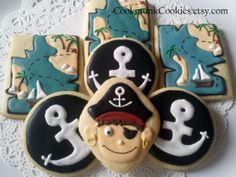 The fierce pirate found the treasure map! Party favor, sugar cookie