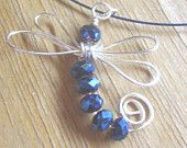 Artisan Wire Wrapped Purple Metallic Crystal Dragonfly by kittyd