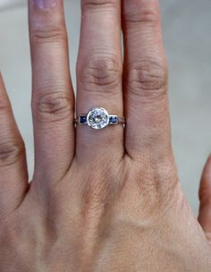 3 Stone White Sapphire Engagement Ring in 14K White by Studio1040