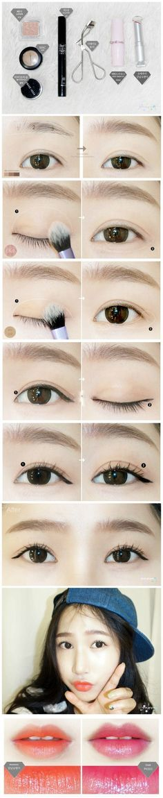 natural looking Korean make up #koreanmakeup #eyeliner