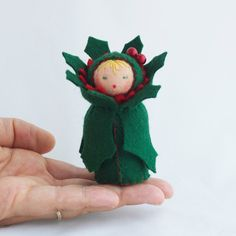 Felt Christmas Holly Berry Doll -- so cute!