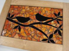 Mosaic Birds at Sunset Mosaic Birdbath, Mosaic Tray, Mosaic Glass, Glass Art, Stained Glass, Mosaic Animals, Mosaic Birds, Mosaic Crafts, Mosaic Projects