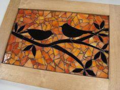Mosaic Birds at Sunset. Silhouette