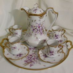 Violets chocolate pot set with tray in Limoges porcelain from chapeaurouge on Ruby Lane