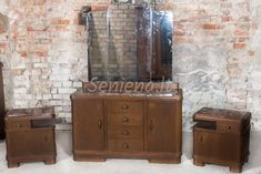 Vintage bedroom dresser, chest of drawers with a mirror