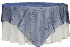 "Embroidery Organza w/Sequin 90"" Overlay - Navy Blue   CV Linens"