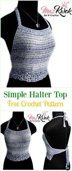 Crochet Simple Halter Top Free Pattern-#Crochet Summer Halter #Top Free Patterns