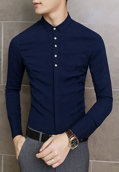 Fashion Turn-down Collar Button Embellished Solid Color Long Sleeves Men's Slimming Shirt Formal Men Outfit, Outfits Casual, Stylish Mens Outfits, Stylish Shirts, Mode Outfits, Formal Dresses For Men, Preppy Casual, Indian Men Fashion, Mens Fashion Wear