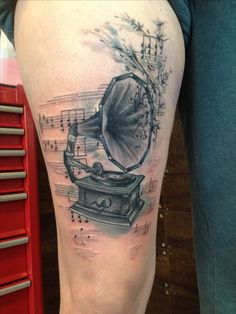 Musictattoos gramophone   #tattoos#leestain#melbourne#fitzroy#inktricate