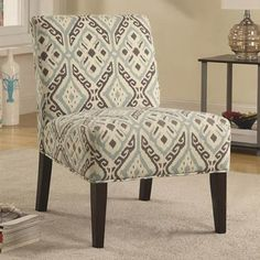 Blue And Gray Patterned Accent Chair Coaster Furniture Arm Chairs Accent Chairs #coasterfurniture #ArmChair