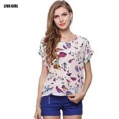 Chiffon Tops-women summer T-shirt causal printed batwing
