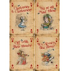4 ALICE IN WONDERLAND A4 Vintage Playing Cards Mad Hatter Tea Party Props