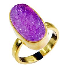 Druzy Drusy Gold Plated Fashion Gemstone Ring. Gemstone Name Druzy Drusy. Ring Size. Ring Size Change / Altration Yes it is possible !