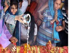 Jammu and Kashmir Chief Minister Mehooba Mufti pours milk intoa sacred spring at the annual festival at the Kheer Bhawani Temple in Ganderbalon Sunday - Courtesy :… Sunday Photos, Unity In Diversity, Literature, Peace, Temple, Books, Milk, Website, Spring
