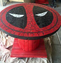 Deadpool logo mosaic table