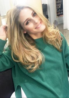 Who made  Olivia Palermo's green sweater?