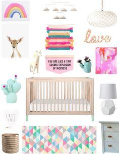 A Lovely Lark: Pretty Pastels Nursery Design Board Modern Nursery Decor, Nursery Design, Nursery Themes, Nursery Room, Girl Nursery, Girl Room, Nursery Ideas, Baby Room, Kids Room Accessories