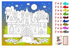 Multiplication table by 7 for kids. Need to paint the castle corresponding to numbers. Printable worksheet for children textbook. Back to school. Multiplication Worksheets, Kids Math Worksheets, Printable Worksheets, Logic Puzzle Games, Logic Puzzles, Castle Painting, Arithmetic, Math For Kids, Exercise For Kids