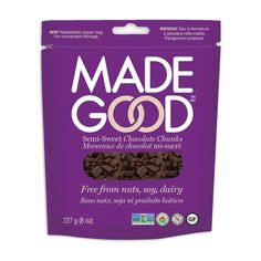 MadeGood® Semi-Sweet Chocolate Chunks feed your inner chocoholic with extra chocolate in your favourite recipes. Nut-free, soy-free and dairy-free - these - Chocolate Chunks Vegan Gluten Free, Dairy Free, Vegan Baking, Nut Free, Cocoa Butter, New Product, Allergies, Favorite Recipes, Chocolate