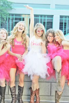 pink tutus and matching tops for bachelorette party