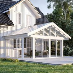 Komplett hagestue Backyard Patio Designs, Roof Design, Cabins In The Woods, Conservatory, Sunroom, Diy And Crafts, Doors, Porches, Interior