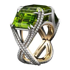 Three-Stone Peridot & Diamond Ring | From a unique collection of vintage three-stone rings at http://www.1stdibs.com/jewelry/rings/three-stone-rings/