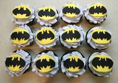 Batman cupcakes to go along with Kannon's two tier batman cake! Chocolate cake with a cream cheese filling.
