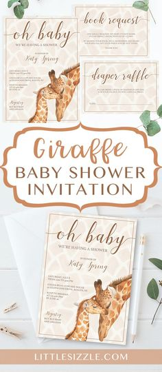 Giraffe baby shower invitation templates by LittleSizzle. Make mom-to-be wild with excitement with this Baby Giraffe baby shower invitation set with watercolor baby and mom giraffe. A giraffe baby shower is perfect for a gender neutral celebration. Bingo Baby Shower, Fiesta Baby Shower, Baby Shower Giraffe, Baby Shower Cards, Baby Shower Parties, Baby Shower Gifts, Baby Party, Shower Games, Shower Party