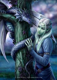Anne Stokes - Amazing is the only way to describe her artwork that and I love the fantasy theme./ small green dragons in my fantasy world are healing dragons. they are really smaller than this dragon, kitten sized. Anne Stokes, Fantasy Artwork, Fantasy Images, Fantasy Love, Elfen Fantasy, Dragons, Fantasy Kunst, Green Dragon, Kindred Spirits
