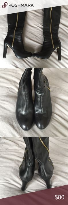 Black Banana Republic leather boots Mint condition! Just under the knee leather boots. Gold accents Banana Republic Shoes Heeled Boots
