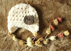 Baby Girl Hat, Newborn Crochet Hat in Cream with Tan, Gold Flower, Earflap, Great for Photo Prop