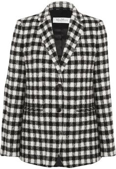 Max Mara - Checked Textured-felt Blazer - Black