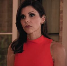 Heather Dubrow's Red Mock Neck Dress | http://www.bigblondehair.com/real-housewives/rhoc/heather-dubrows-red-mock-neck-dress/ Elizabeth & James