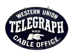 Rare Original Western Union Telegraph and Cable Office Porcelain Sign