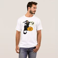 #Black Cat In Witch Hat - Halloween T-Shirt - #halloween #party #stuff #allhalloween All Hallows' Eve All Saints' Eve #Kids & #Adaults