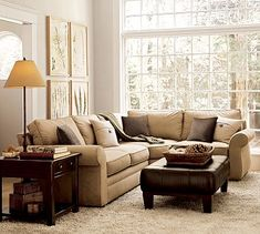 My sectional and leather ottoman.  Pearce 3-Piece Sectional with Wedge - Performance everydaysuede&#8482 #potterybarn