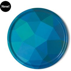 notNeutral Prismatic Tray - Blue/Green ($24) ❤ liked on Polyvore featuring home, kitchen & dining, serveware, round serving tray, blue serving tray, blue tray and round tray