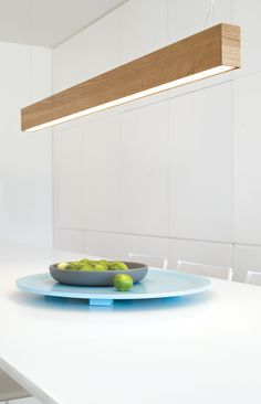 LEDlux Nord rectangle up/down LED pendant in teak.