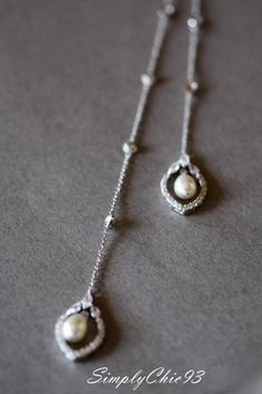 Backdrop Lariat Bridal Necklace  Long Back Chain by simplychic93
