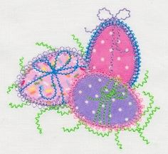 Accuquilt Go! Easter Eggs Applique - 4x4 | What's New | Machine Embroidery Designs | SWAKembroidery.com VStitchDesigns
