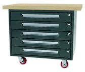 MOBILE WORKBENCH WITH STORAGE 38?W X 24?D X 34?H   FIVE DRAWERS 32?W X 21?D X 5.25?H  MAPLE TOP SPECIFY METAL COLOR