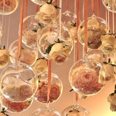 flowers hanging from ceiling