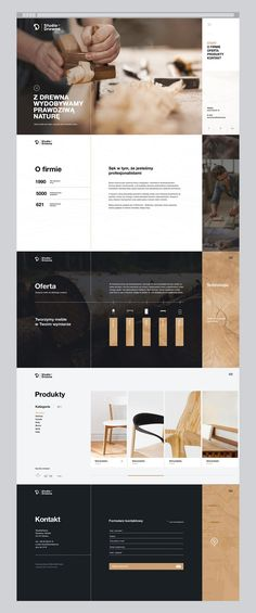 """""""From wood we extract the true nature""""Studio Drewna is a family business with a long tradition and years of experience. It is a company that designs and creates premium handmade wooden furniture.The scope of our work included the creation of a logo c Layout Design, Layout Web, Interaktives Design, Sites Layout, Design Sites, Site Web Design, Website Layout, Page Design, Website Menu Design"""