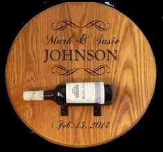 Wedding Barrel Head With Wine Bottle Holder by TheCocktailGoddess