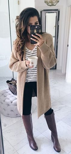 #fall #outfits  Women's brown cardigan outfit