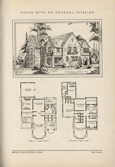 House With Unusual Interior Design by Architect Andrew Charles Borzner.    The book of beautiful homes. by Andrew C. Borzner Published 1932    BookReaderImages.php (1213×1755)
