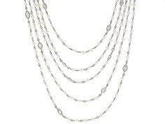 Art Deco Diamond and Seed Pearl Chain Necklace in Pl #504901