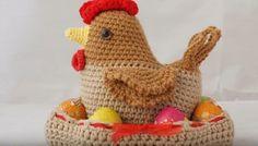 Un bel cesto porta uova di Pasqua a uncinetto completo di gallina amigurumi: il video tutorial passo passo e lo schema scritto.