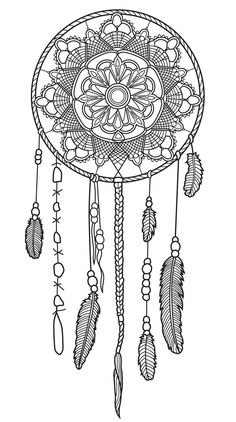 Dreamcatcher coloring page | Colorish App : free coloring app for adults by GoodSoftTech